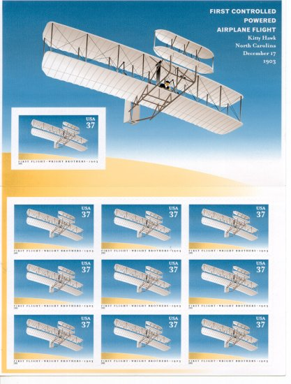First Flight Wright Brothers US mint sheet 10 Mystic $14.95