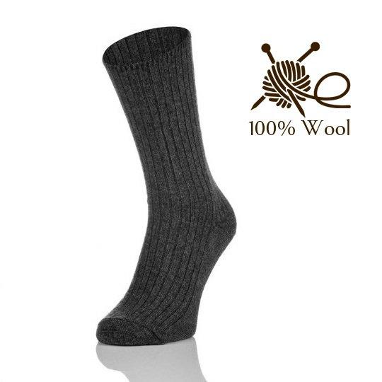 100% Lambswool socks 3 Pairs Thermal Wool Socks Grey Size EU 43-46 (US 10-12)