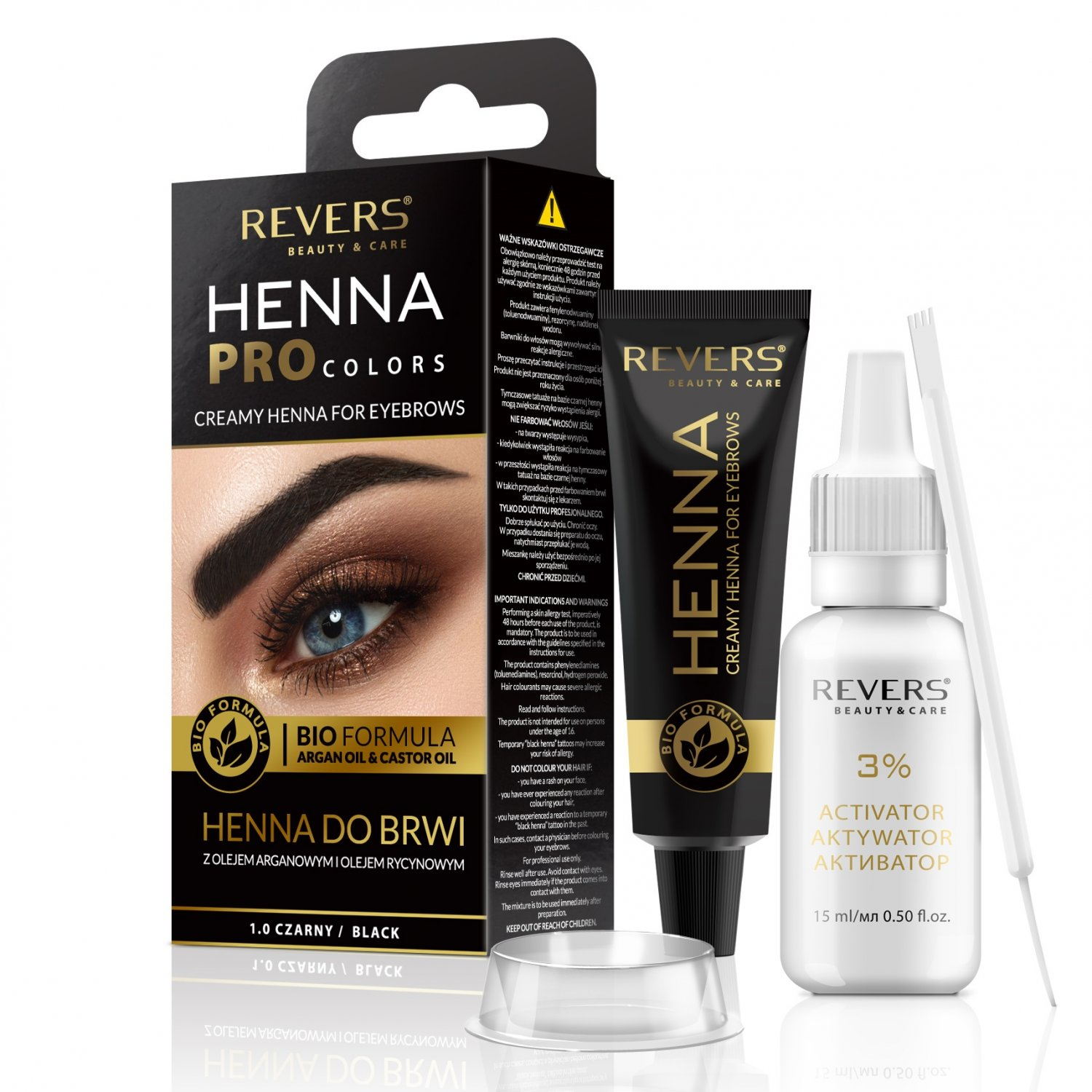 Henna for eyebrows Bio Formula Creamy henna with Argan oil & castor oil 1.0 Black