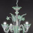 small murano chandelier 3 light green and crystal