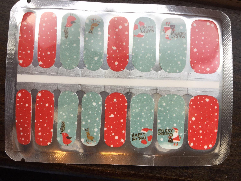 Blue & Red Christmas Nail Art