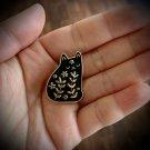 FLORAL BLACK CAT PIN