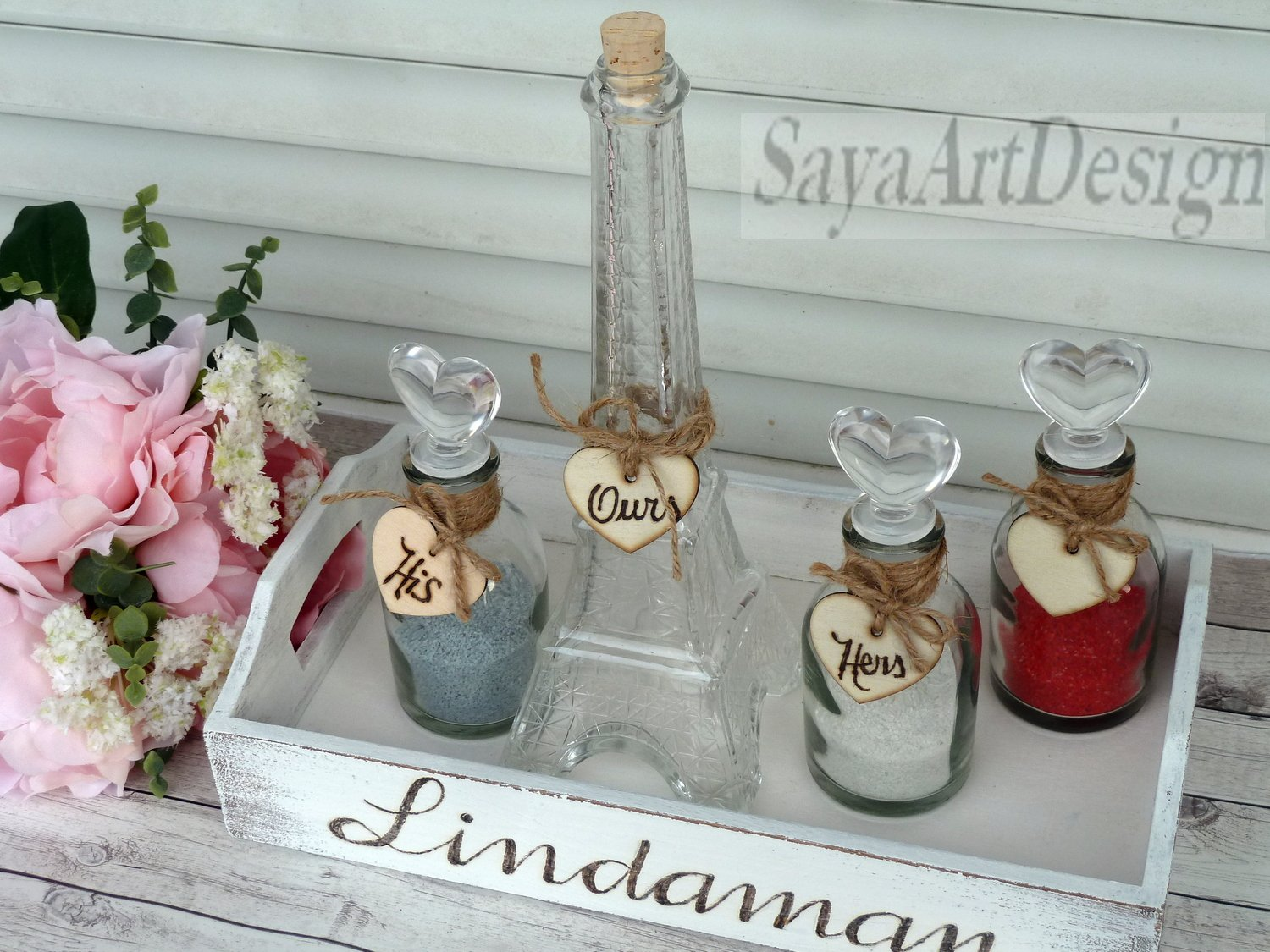 Paris Eiffel Tower Family of 4 Unity Ceremony Sand Set. White Rustic Wedding Ceremony Set.