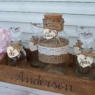 Rustic Wedding Unity Sand Ceremony. Personalized Family Sand Ceremony Set for 4 Family Members