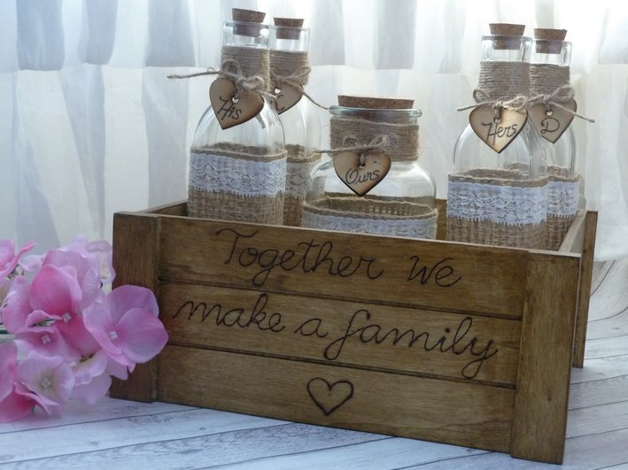 Personalized Rustic Wedding Sand Ceremony Set for 3 Members. Customized Sand Ceremony Set.