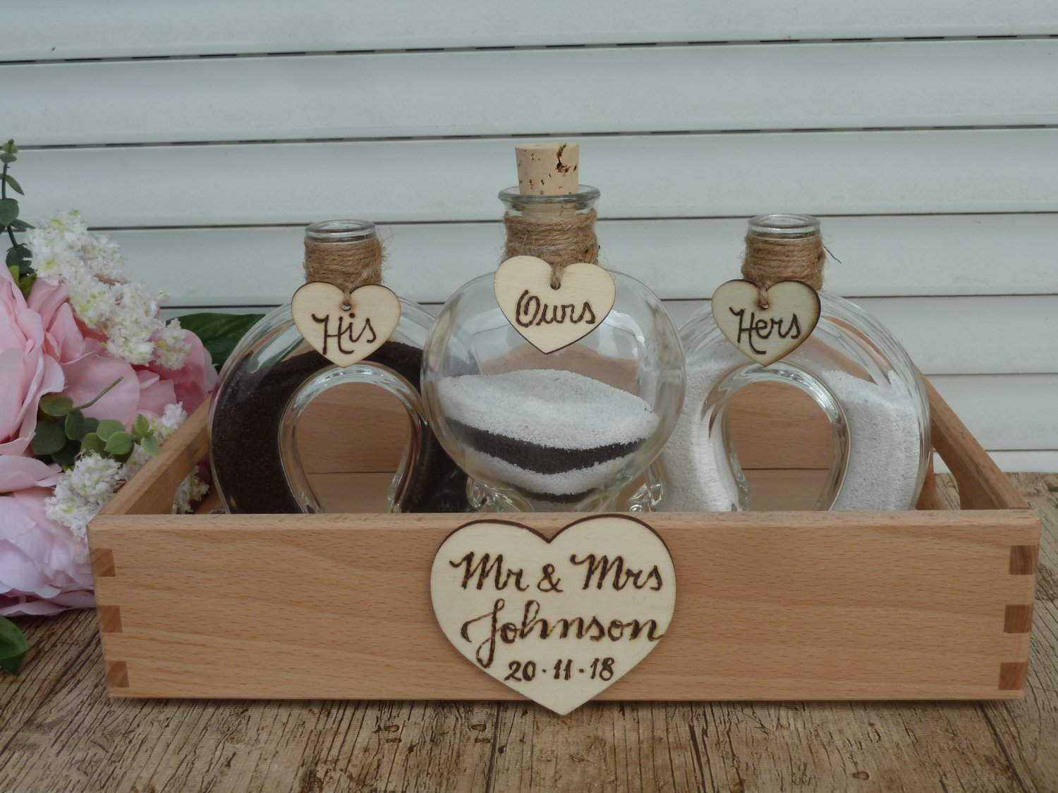Wedding Unity Sand Ceremony Set for 2. Horse Shoe, Heart Shape Bottles. Personalized, Western.