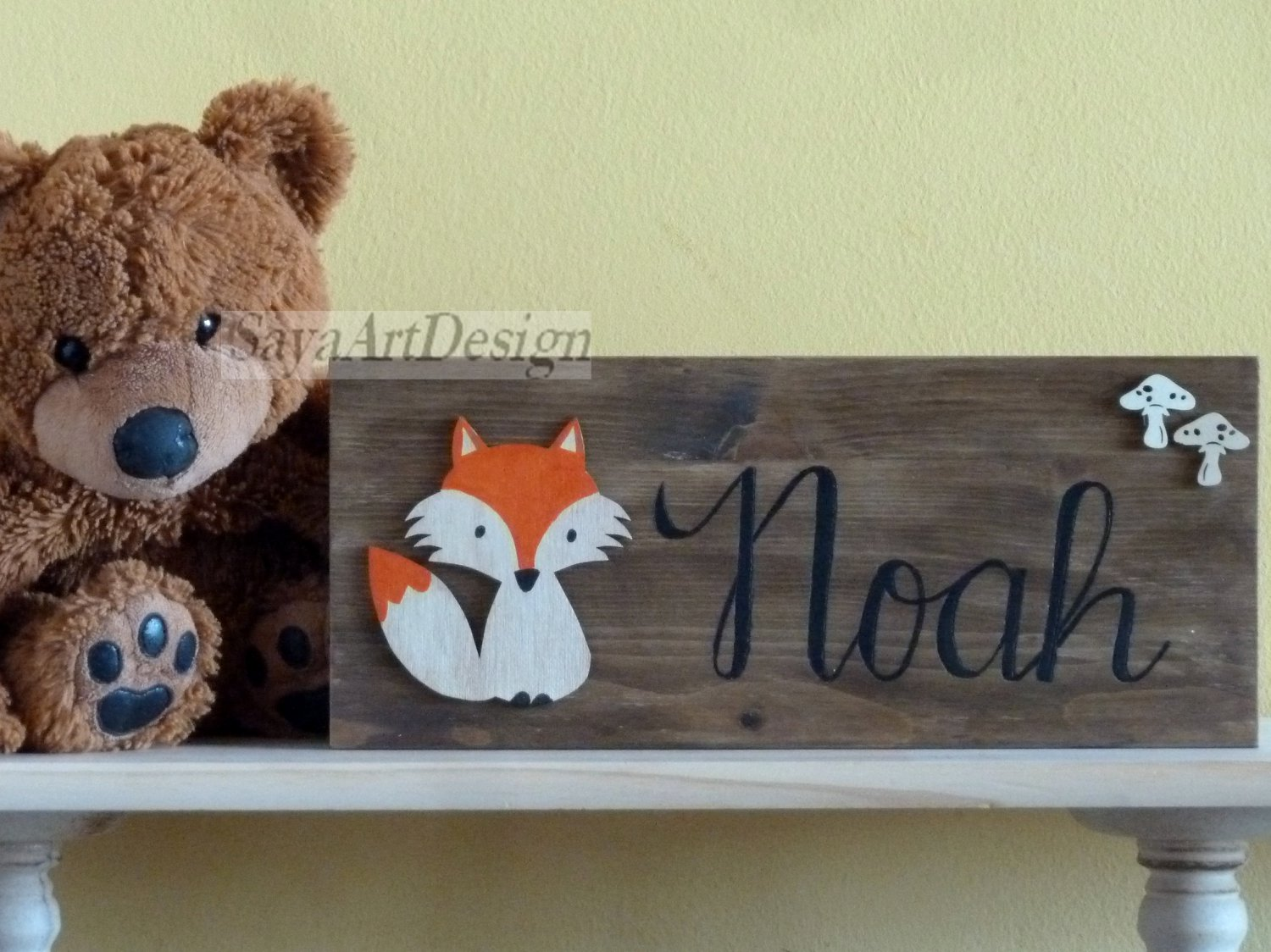 Personalized Wooden Baby Name Sign, Wall Hanging. Nursery Room Decor.