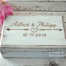 White Wedding Ring Box, Personalized Rustic. Custom White Ring Holder.
