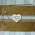 Wooden Wedding Guest Book 30 Sheets. Rustic, Customized.