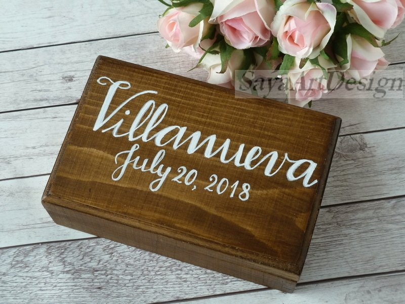 Wedding Ring Box. Ring Bearer Box, Rustic Ring Holder. Wooden Wood Double Pillow Ring Box.