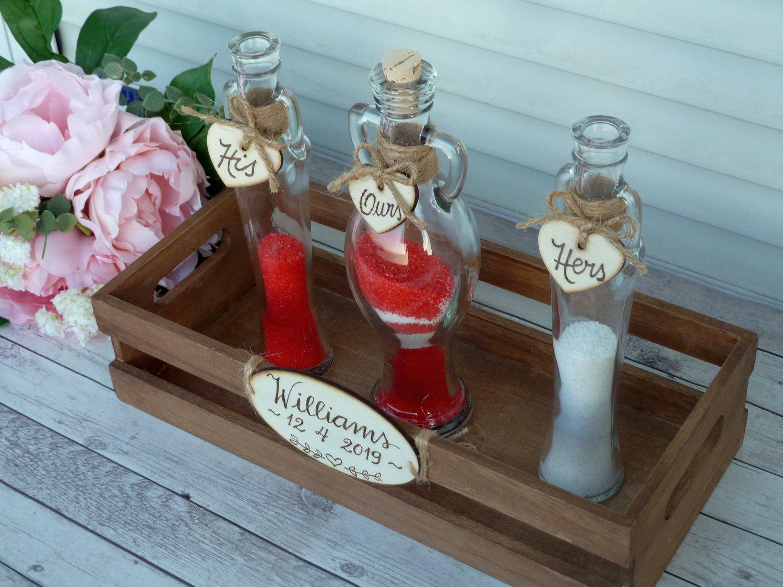 Sand Ceremony Set,  3 Amphora Shaped Bottles, Personalized Wedding Unity Rustic Wedding Gift