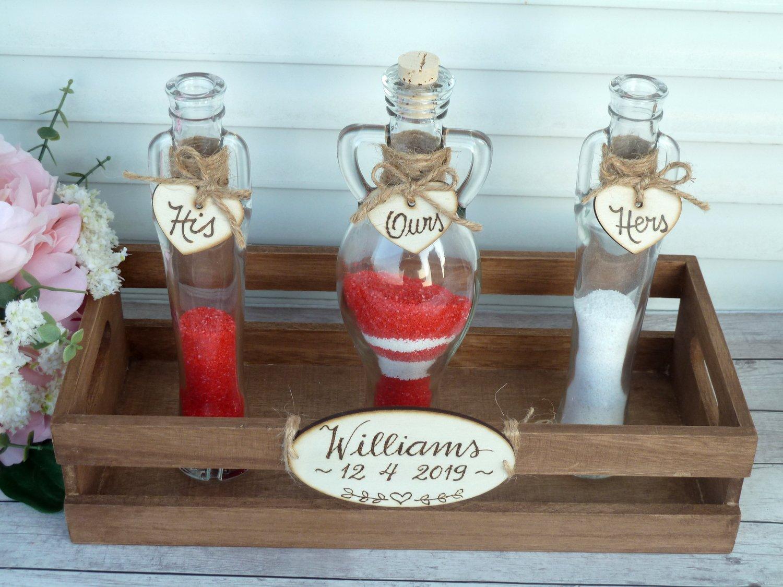Sand Ceremony Set,  4 Amphora Shaped Bottles, Personalized Wedding Unity Rustic Wedding Gift