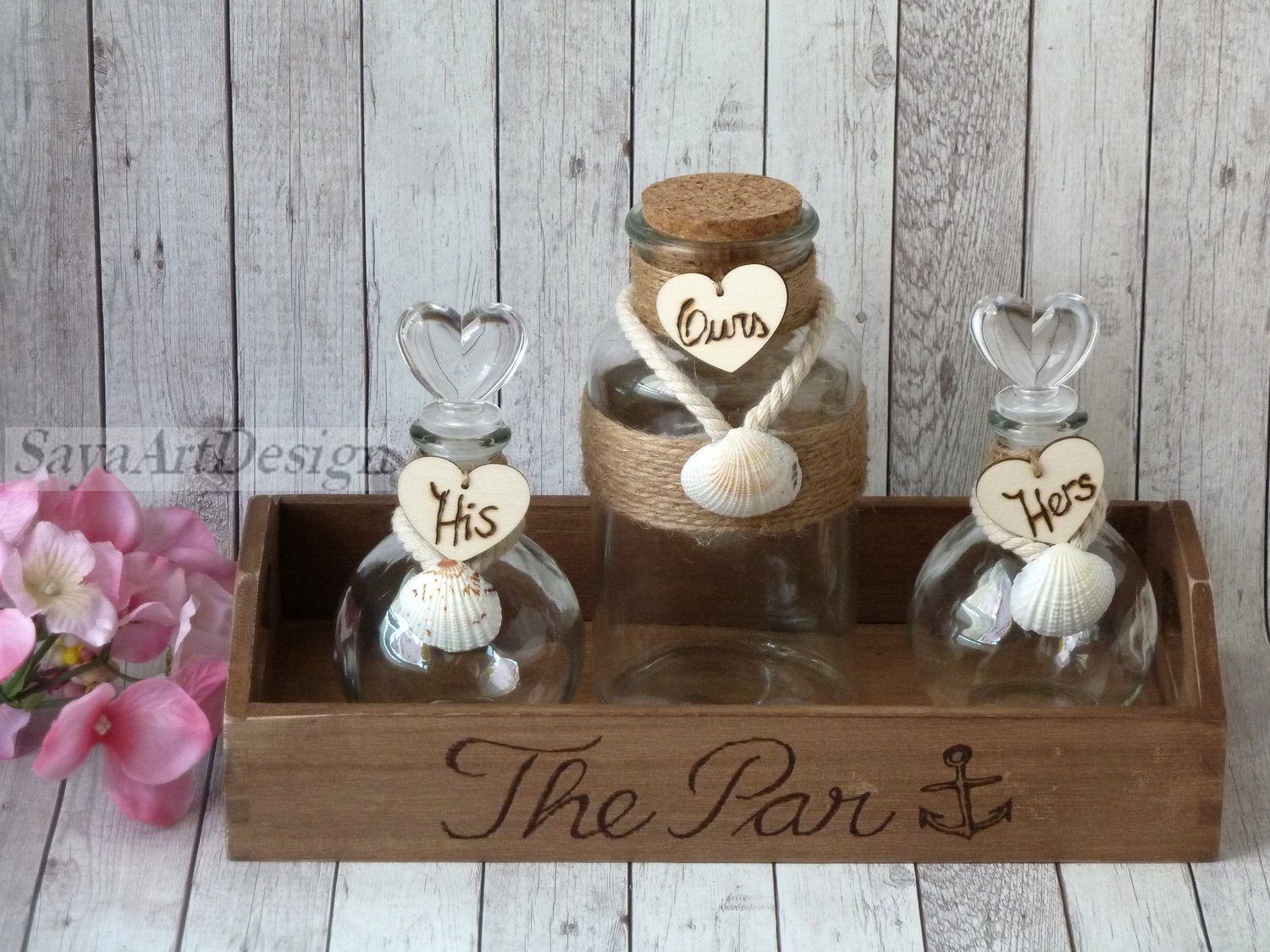 Family Unity Sand Ceremony Wedding Set for 3 Members. Beach Style, Engraved. Personalized