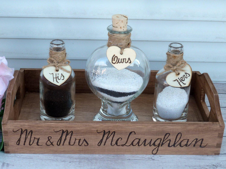 Wedding Sand Ceremony Set, 2 Family Members Unity Set. Heart Shaped Sand Bottle, Wedding gift.