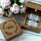 Mr. and Mrs. Wedding Ring Boxes 2 set. Rustic Weddding Engraved. His Hers. Bride and Groom Box