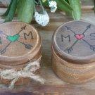 Wedding Ring Box Set. Round Ring Bearer Boxes. Boho Wedding Ring Pillow. Wooden Hand Engraved.