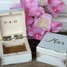 Wedding Ring Box Mr Mrs, Ring Bearer Box. Wood Wedding Ring Pillow His Hers, Rustic Ring Boxes