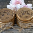 Wedding Ring Box Set Mr Mrs. Wooden Personalized Ring Holder. Engraved Ring Pillow Box.