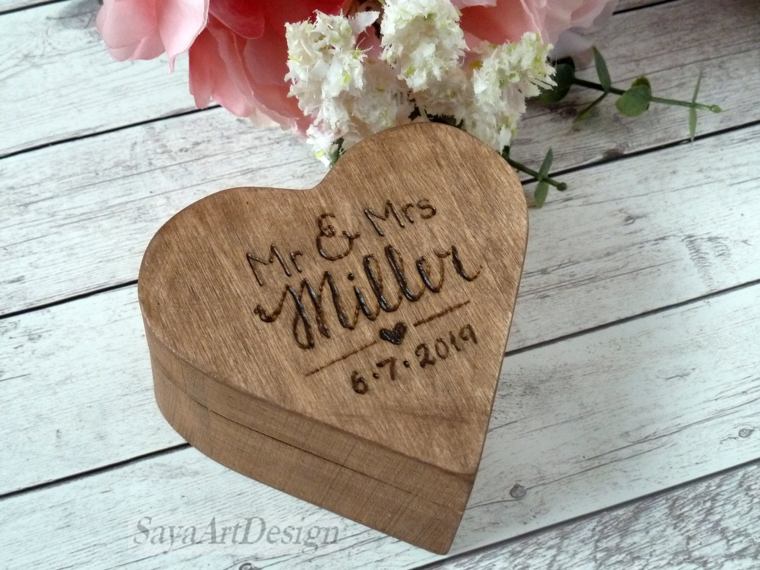 Wedding Ring Box Heart Shaped, Wooden Rustic Ring Bearer. Ring Pillow Box. Custom Engraved