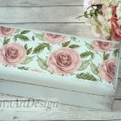 White Wooden Tea Box with Pink Roses. Shabby chic Tea Bags Box. Bohemian Rustic Box. Gift Ideas