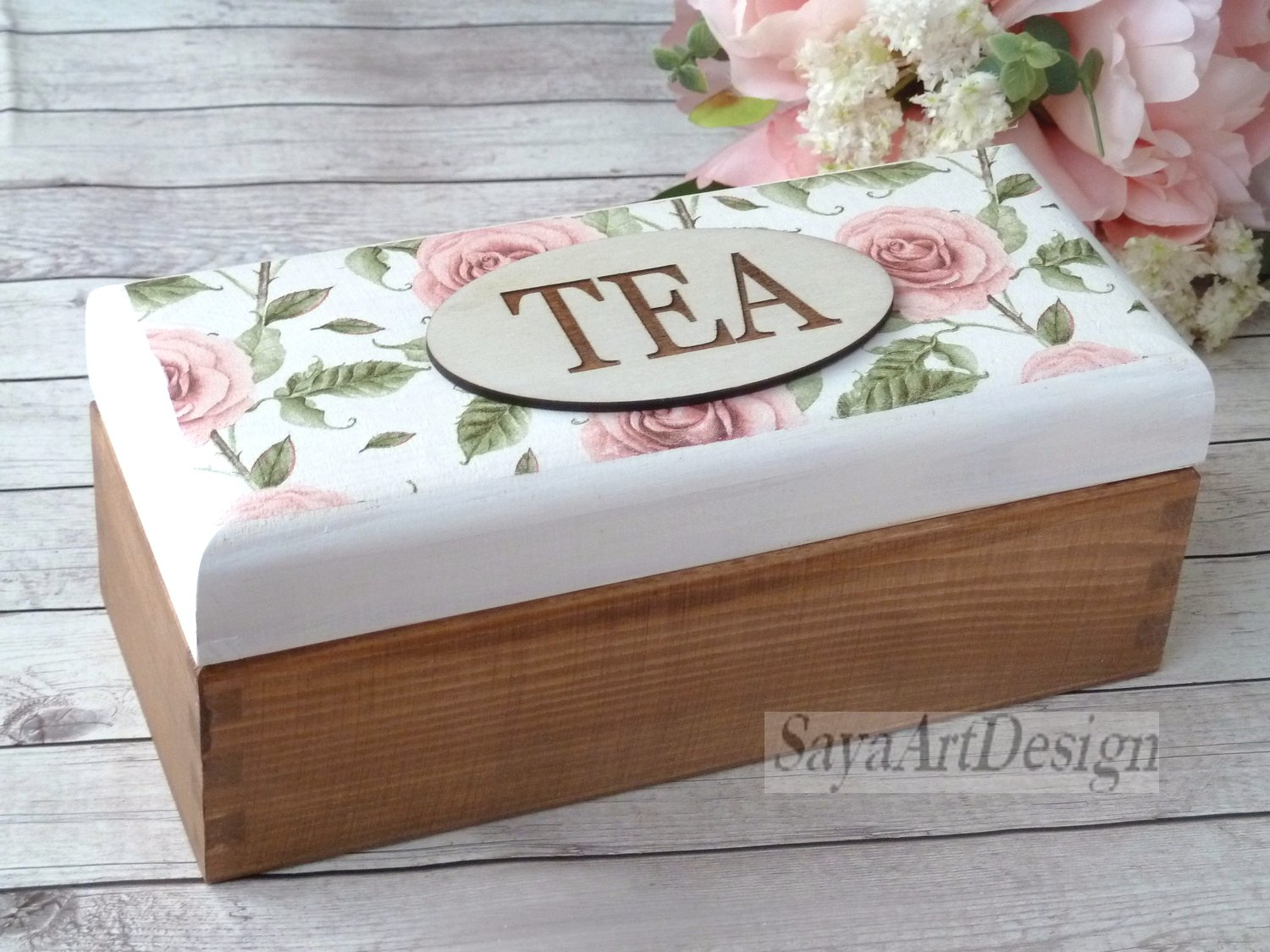 Wooden Tea Box with Pink Roses. Shabby chic Tea Bags Box. Bohemian Rustic Box. Gift Ideas