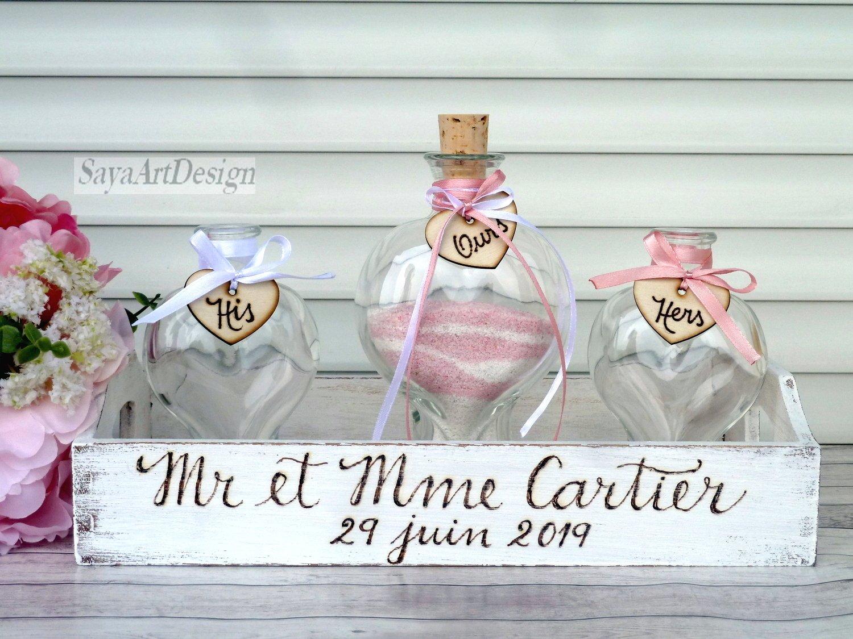 Wedding Sand Ceremony. Heart Shaped Sand Vases. Blended Family Sand Set for 2 Members