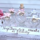 Wedding Sand Ceremony for 4 Members. Heart Shaped Pourers. Blended Family Sand Set.