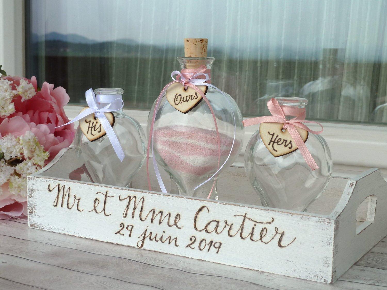 Wedding Sand Ceremony for 5 Members. Heart Shaped Bottles. Blended Family Sand Set.