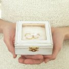 Rustic Wedding Ring Box, Pillow Alternative. Wooden White Trinket, Engraved.