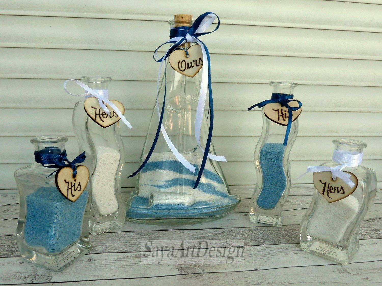 Family Unity Ceremony Sand Set for 3 Members. Sailing boat Shaped. Custom Nautical Wedding Gift