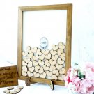 Wedding Guest Book Alternative. 60 Hearts for Invited. Personalised Rustic Drop Box for Invited.