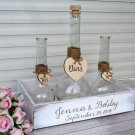 Wedding Sand Ceremony Set 2+1. White Family Unity Sand Set, Rustic Personalized Wedding Ceremony