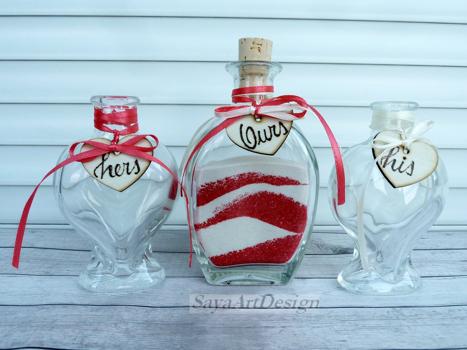 Wedding Unity Ceremony. Oval and Heart Shaped Sand Bottles. Set for 2 Members. Wedding gift