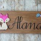 Personalized Girl's Room Wall Hanging. Baby Fox Nursery Decor. Woodland Kids Room Decor.
