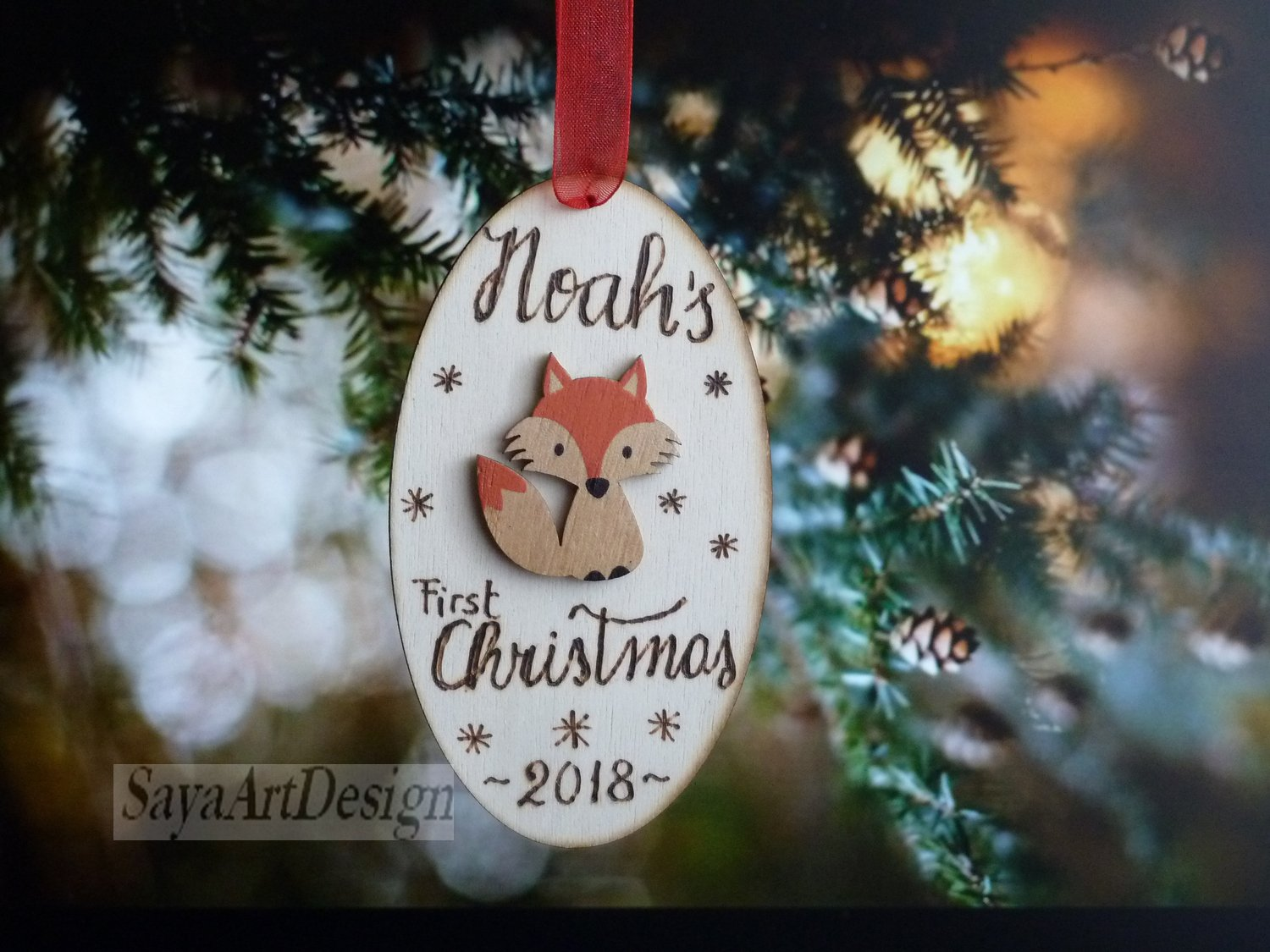 Baby's First Christmas Ornament. Christmas Tree Decor for Newborn. New Parent Gift. Rustic Wood