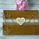 Wooden Wedding Guest Book 50 Sheets. Rustic, Customized Engraved.