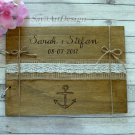 Wedding Guest Book 30 Sheets. Rustic Personalized Nautical Beach Wooden Advice Book. Wedding Gift