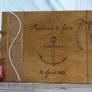 Wedding Guest Book 30 Sheets. Engraved Nautical Beach Wooden Advice Book. Wedding Gift