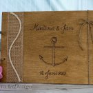 Wedding Guest Book 50 Sheets. Engraved Nautical Wooden Advice Book. Wedding Gift