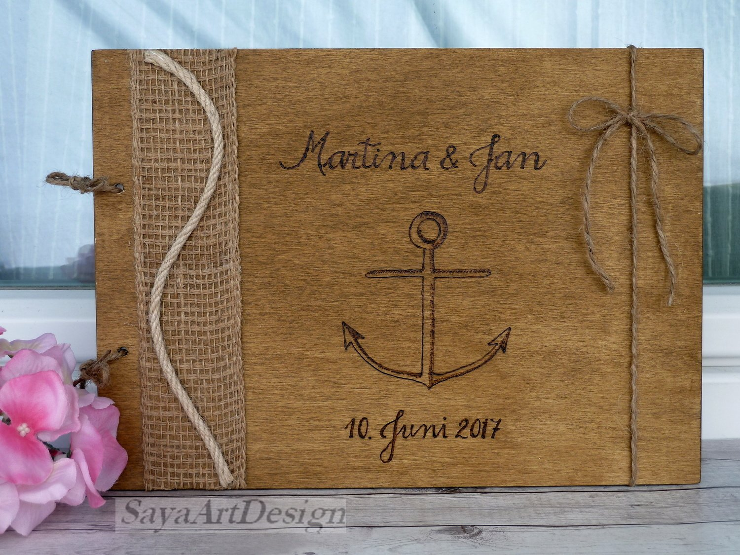 Nautical Wedding Guest Book 70 Sheets. Engraved Wooden Advice Book. Wedding Gift