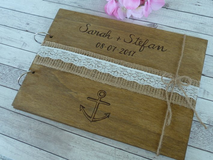Wedding Guest Book 50 Sheets. Personalized Nautical Beach Wooden Advice Book. Wedding Gift