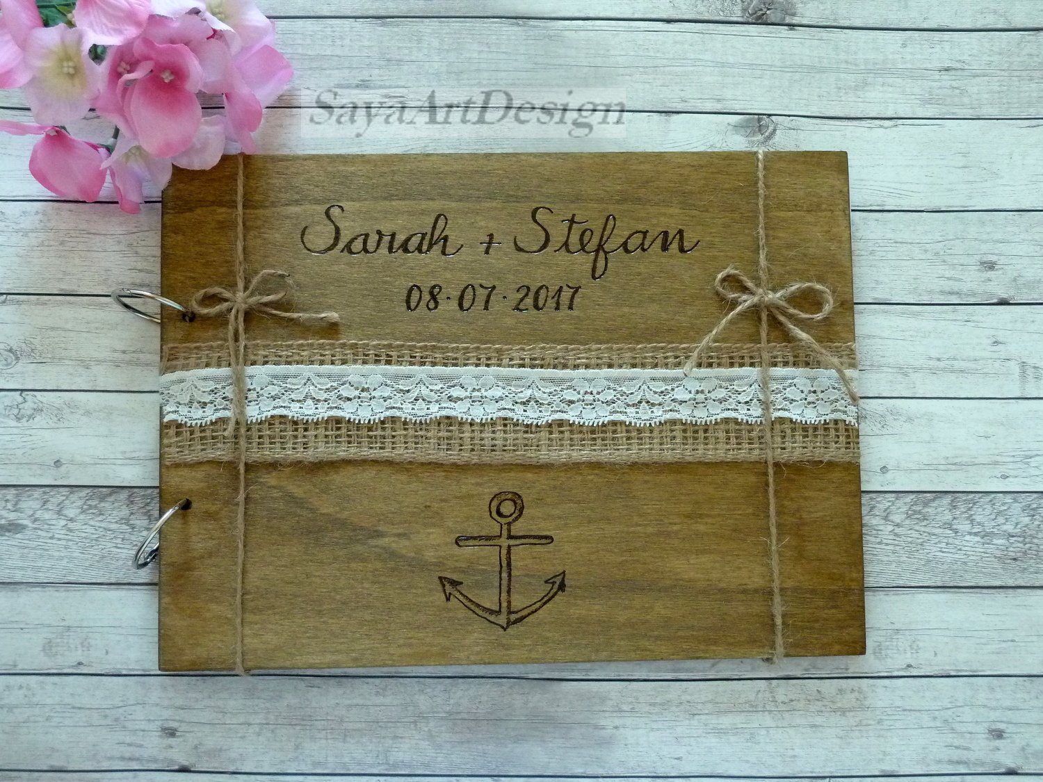Rustic Wedding Guest Book 70 Sheets. Personalized Nautical Beach Wooden Advice Book. Wedding Gift