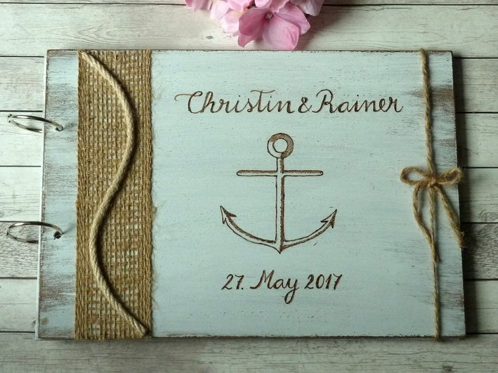 White Wedding Guest Book 50 Sheets. Engraved Nautical Beach Wooden Advice Book. Wedding Gift