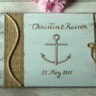 White Wedding Guest Book 70 Sheets. Engraved Nautical Beach Wooden Advice Book. Wedding Gift