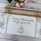 White Wedding Guest Book 30 Sheets, Engraved. Anchor Nautical Wooden Advice Book. Wedding Gift
