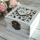 Oriental Ring Bearer. White Wedding Ring Box. Carved Ring Holder, Rustic. Pillow Box, Wooden