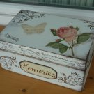 Memories Box. Treasure, Trinket, Jewelry, Sewing Keepsake. Rustic Wooden Vintage Style. Baby Shower
