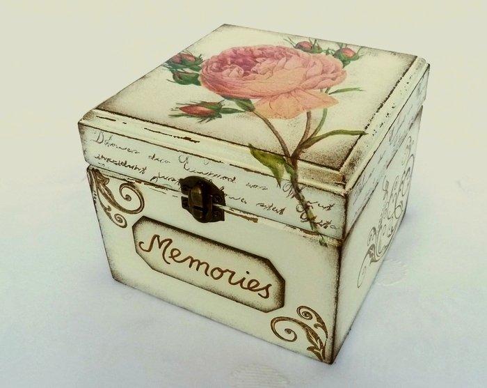 Memories Box. Treasure, Trinket, Jewelry, Sewing Keepsake. Rustic Wooden Vintage Style Baby Shower