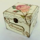 Memories Box. Treasure, Trinket, Jewelry, Sewing Keepsake. Rustic Wooden Vintage Style Baby Shower