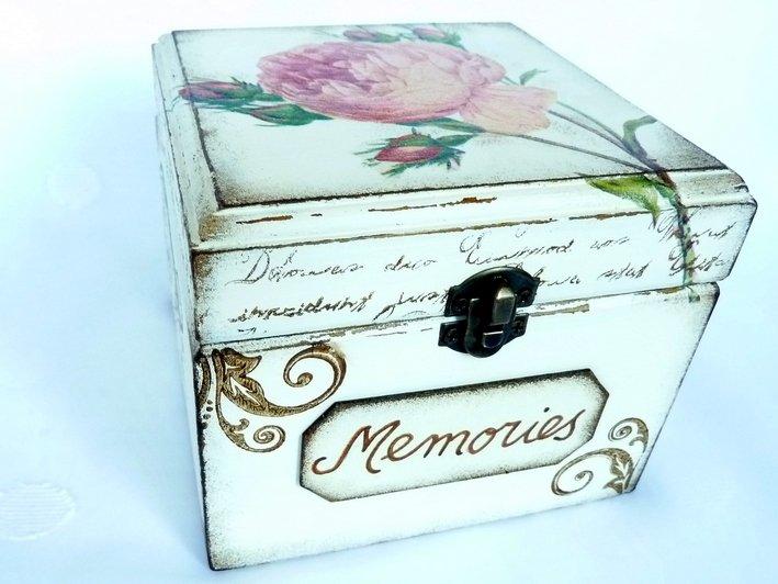 Memories Box. Girls Treasure, Jewelry Box. Sewing Keepsake. Rustic Wooden Vintage Style Baby Shower